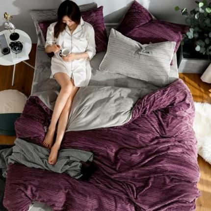 金莎浪新款简易针织纹宝宝绒四件套简易针织纹宝宝绒--魅紫6
