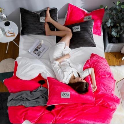 金莎浪新款简易针织纹宝宝绒四件套简易针织纹宝宝绒--玫红8
