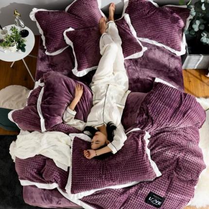 金莎浪 新款宽边剪花格宝宝绒四件套宽边剪花格--魅紫6