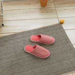野馬家紡 乳膠拖鞋 無印-條紋大紅
