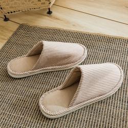 野馬家紡 乳膠拖鞋 無印-條紋淺咖