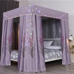 双凤居  2019新款高密度三层95%遮光床帘 熏衣草-粉紫
