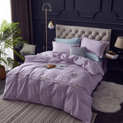 格里芬家纺 全棉简约时尚刺绣工艺款四件套 璀璨之夜-浅紫