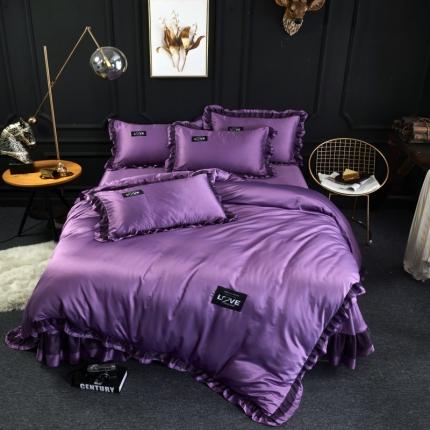 格里芬家纺  水洗真丝冰丝天丝花边床裙款四件套欧若拉-魅紫