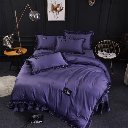 格里芬家纺  水洗真丝冰丝天丝花边床裙款四件套欧若拉-深紫