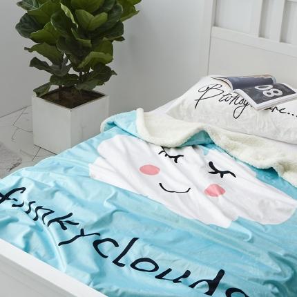 大有卡通大版羊羔绒数码印花水晶绒毛毯夏被毛毯 云朵