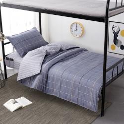 学生派全棉13372学生新型专利床笠式床单防滑床单时尚悦格灰