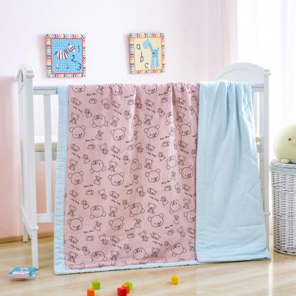 美真宝贝 儿童夏被空调被幼儿园纱布夏凉被 粉熊