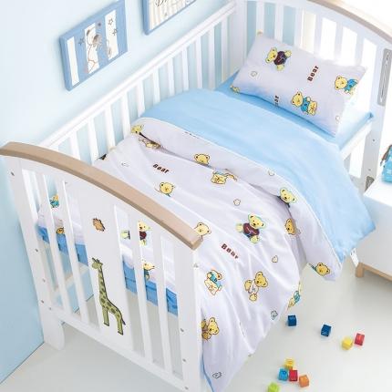 美真宝贝 幼儿园卡通三件套被子含芯儿童三件套 六件套熊宝宝白