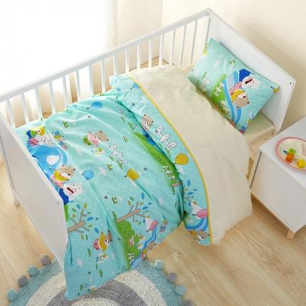 美真宝贝 幼儿园卡通三件套被子含芯儿童三件套六件套 游乐场蓝