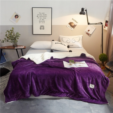 美津 法莱绒羊羔绒毛毯 深紫(压线)