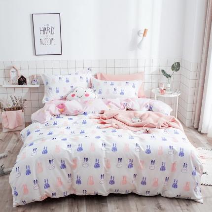 我心家纺 2018ins风套件七月新花系列床单款 米米兔