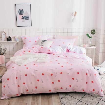 我心家纺 2018ins风套件七月新花系列床单款 小草莓