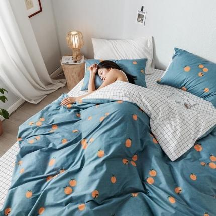 我心家纺 2019新款全棉印象风四件套床单款 甜橙