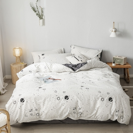 我心家纺 2019新款全棉印象风四件套床单款 星空