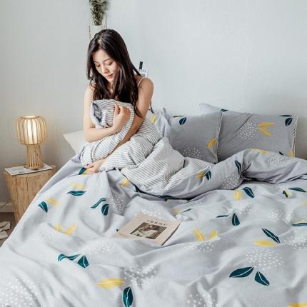 我心家纺 2019新款全棉印象风四件套床单款 雪梨-灰