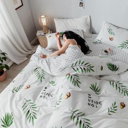 我心家纺 2019新款全棉印象风四件套床单款 一颗松果-白