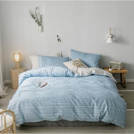 我心家纺 2019新款全棉印象风四件套床单款 早安-绿