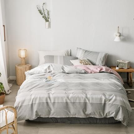 我心家纺 2019新款全棉印象风四件套床单款 针织-灰
