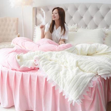 桔子家纺 兔兔雕花绒四件套床单款兔兔荣粉白