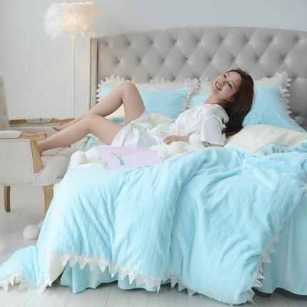 桔子家纺 兔兔雕花绒四件套床单款兔兔绒蓝