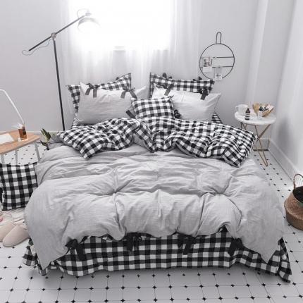 桔子家纺 2018新款(草莓女孩)四件套床单款黑白格