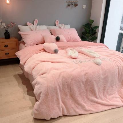 桔子家纺 兔兔绒萌兔系列三件套四件套实拍 萌兔-粉