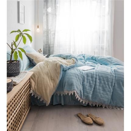 桔子家纺 兔兔雕花绒系列三件套四件套床单款实拍 天蓝