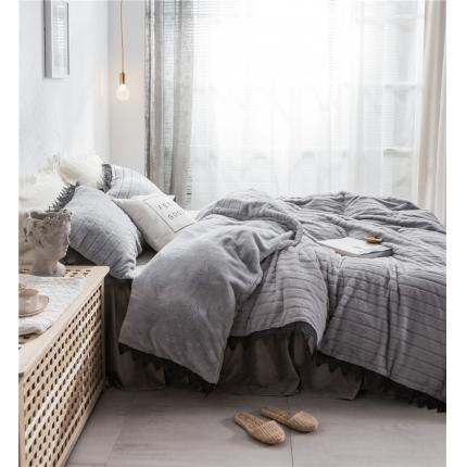 桔子家纺 兔兔雕花绒系列三件套四件套床单款实拍 烟灰