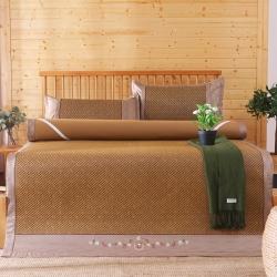 【爆款】绣花古藤席加厚凉席可折叠冰丝冰席藤席三件套席子竹席