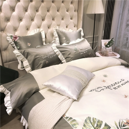 玉皇阁 花语A面水洗真丝B版纯棉四件套床单款 灰