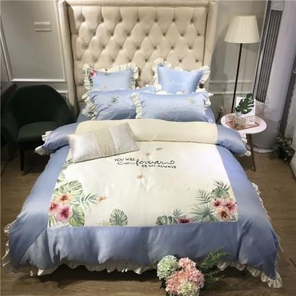玉皇阁 花语A面水洗真丝B版纯棉四件套床单款 蓝