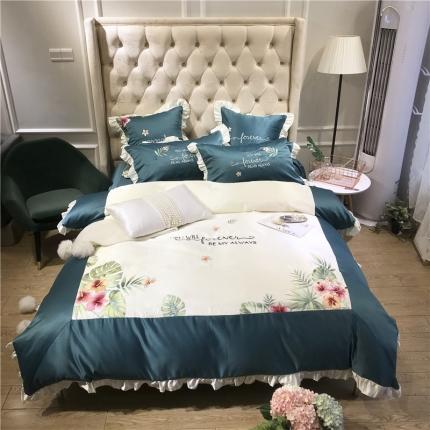 玉皇阁 花语A面水洗真丝B版纯棉四件套床单款 墨绿