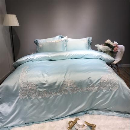 玉皇阁 爱丽丝A面水洗真丝刺绣+B面纯棉四件套床单款 水绿
