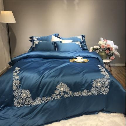 玉皇阁 爱丽丝A面水洗真丝刺绣+B面纯棉四件套床单款 湖蓝