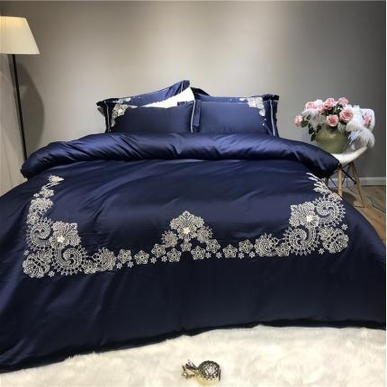 玉皇阁 爱丽丝A面水洗真丝刺绣+B面纯棉四件套床单款 蓝
