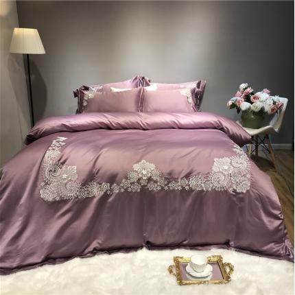 玉皇阁 爱丽丝A面水洗真丝刺绣+B面纯棉四件套床单款 紫