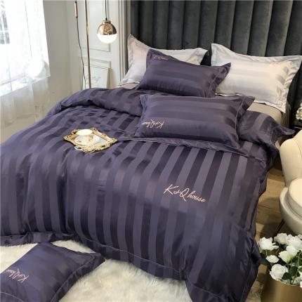 玉皇阁 2020新款轻奢贡缎条纹刺绣四件套 紫