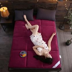首爱家纺 2019新款珊瑚绒床垫 酒红色 床垫