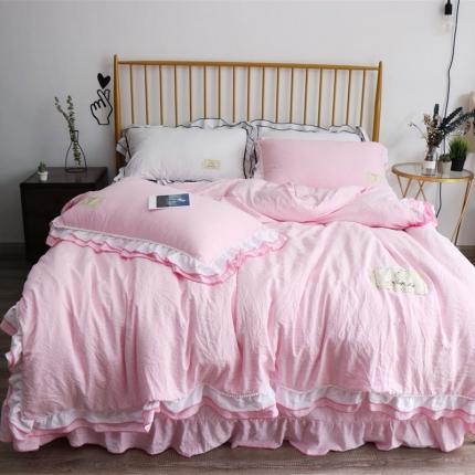 念家家居 韩版双层花边毛球款四件套浅粉色