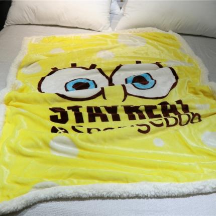 念家家居 牛奶绒拼羊羔绒儿童毯海绵宝宝 毛毯盖毯春秋毯
