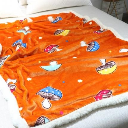 念家家居 牛奶绒拼羊羔绒儿童毯森林蘑菇(橘)毛毯盖毯春秋毯
