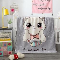 慕莎新生婴儿云毯双层盖毯幼儿园超柔毛毯宝宝压花空调毯 萌猫灰