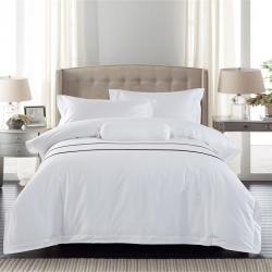 星級酒店賓館民宿床上用品60支棉貢緞嵌條四件套純白色簡約床品