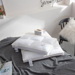 帝诺妮枕芯坊 2019简约全棉分区低枕芯 白色一只