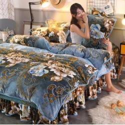新品牛奶金貂绒四件套水晶绒床裙款床裙式法莱绒四件套 绿野仙踪