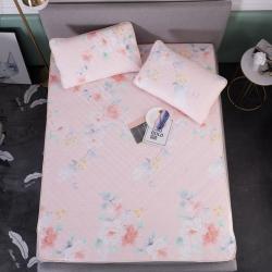 金星家纺 天然乳胶天丝凉席三件套 花红