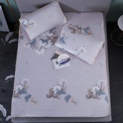 金星家纺 天然乳胶天丝凉席三件套 墨灰