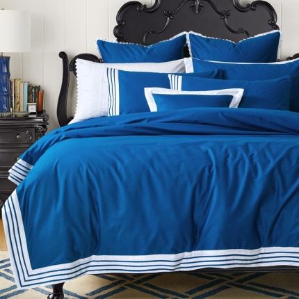 宅家居  全棉四件套茉琳卡系列深蓝色