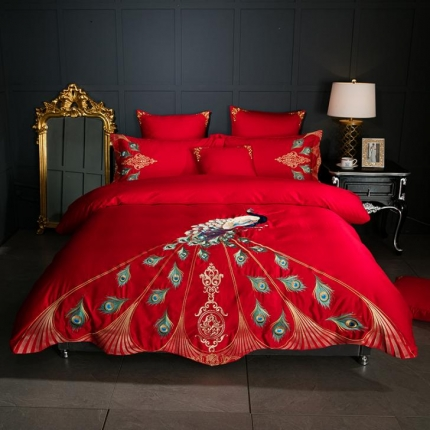 宅家居 60支长绒棉四件套幻羽系列红色